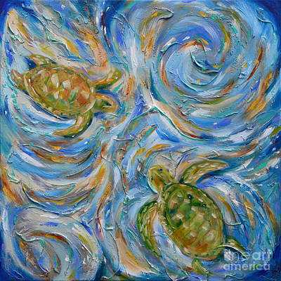 Sea Turtles In The Current Art Print
