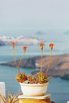 Photograph - Sea View In  Santorini, Greece by Deimagine