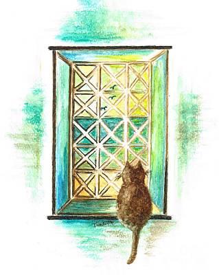 Curiosity - Cat Art Print
