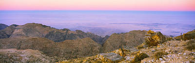 Jordan Photograph - Sea Viewed From A Mountain Top At Dusk by Panoramic Images
