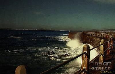 Sea Wall At Night Art Print
