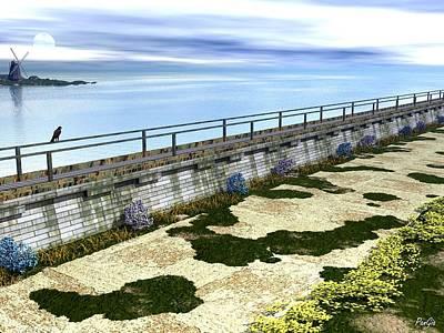 Walkway Digital Art - Sea Wall by John Pangia