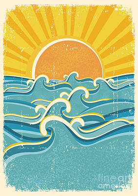 Pattern Digital Art - Sea Waves And Yellow Sun On Old Paper by Tancha