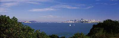 Bay Bridge Photograph - Sea With The Bay Bridge And Alcatraz by Panoramic Images