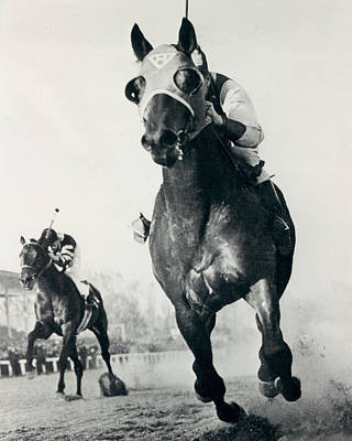 Crowds Photograph - Seabiscuit Horse Racing #3 by Retro Images Archive