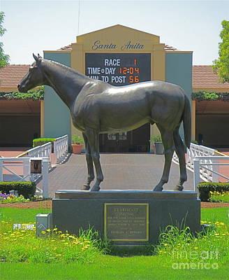 Seabiscuit Statue At Santa Anita Race Track  Art Print