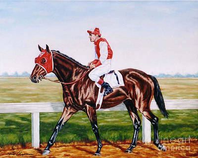 Seabiscuit Painting - Seabisuit George Woolf Up by Tom Chapman