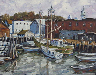 Quebec Painting - Seacscape Dock Scene By Prankearts by Richard T Pranke