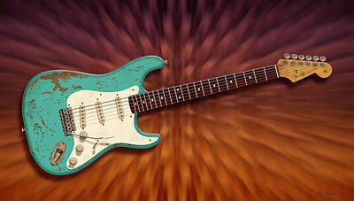 John Mayer Digital Art - Seafoam Strat by WB Johnston