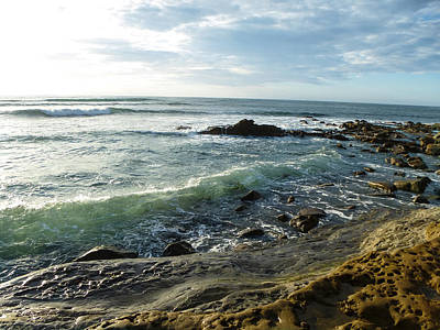 Thomas Kinkade Rights Managed Images - Seafoam waves Royalty-Free Image by Angela Boyko