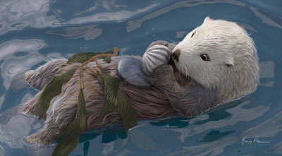 Otter Painting - Seafood For Lunch by Gary Hanna