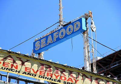 Photograph - Seafood Sign by Valentino Visentini