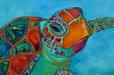 Turtle Painting - Seaglass Sea Turtle by Patti Schermerhorn