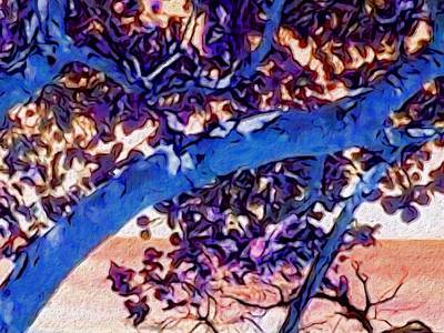 Digital Art - Seagrape Tree In Blue - Horizontal by Lyn Voytershark