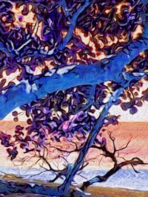 Digital Art - Seagrape Tree In Blue - Vertical by Lyn Voytershark