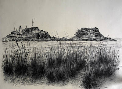 Beach Landscape Drawing - Seagrass And Fidra by Michelle Bailey