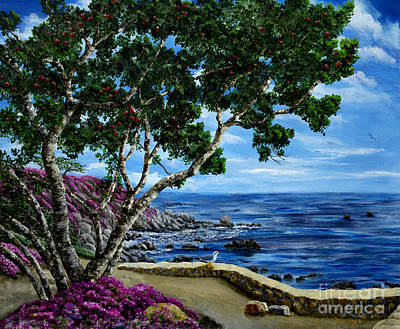 Painting - Seagull At Pacific Grove Overlook by Laura Iverson