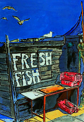 Crate Drawing - Seagull Cafe by Callan Percy