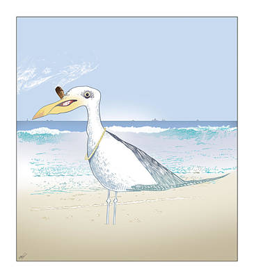 Sea Birds Drawing - Seagull Cigar by Ch' Brown