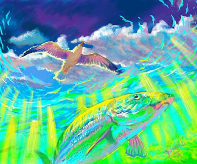 Seagull Over The Flats  Art Print by Yusniel Santos