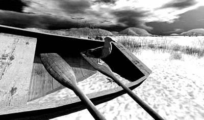 Rowboat Digital Art - Seagull Rowing by Wild Rose Studio