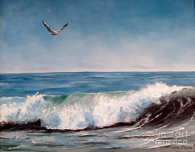 Art Print featuring the painting Seagull With Wave  by Lee Piper