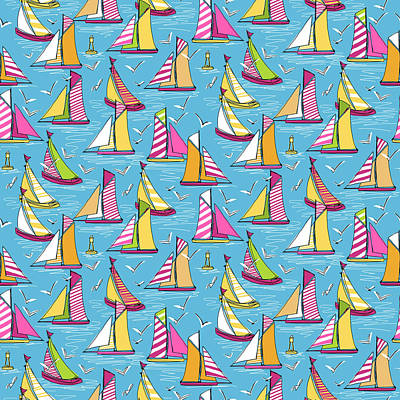 Stripe Drawing - Seagulls And Sails Springtime by Sharon Turner