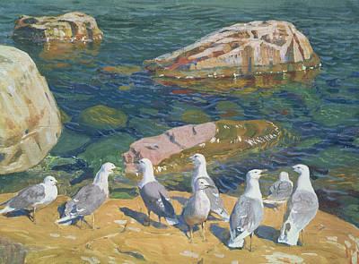 Seagull Painting - Seagulls by Arkadij Aleksandrovic Rylov