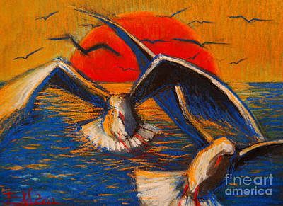 Yellow Beak Pastel - Seagulls At Sunset by Mona Edulesco