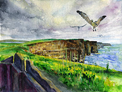 Sea Birds Painting - Seagulls At The Cliffs Of Moher by John D Benson