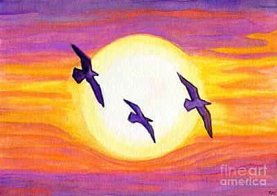 Painting - Seagulls Flying Over Flagler Beach by Roz Abellera Art