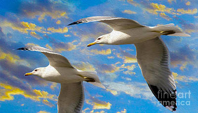 Seagull Mixed Media - Seagulls In Flight by Jon Neidert