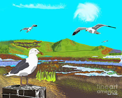 Mixed Media - Seagulls by Paul Fields