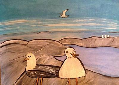 Painting - Seagulls by Paula Brown