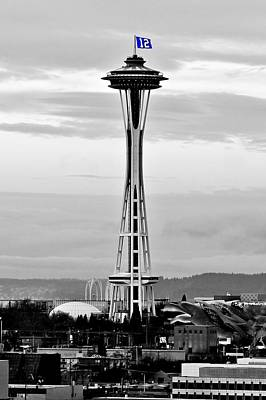 Space Needle Wall Art - Photograph - Seahawk Pride by Benjamin Yeager