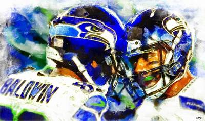 Digital Art - Seahawk Stars by Carrie OBrien Sibley