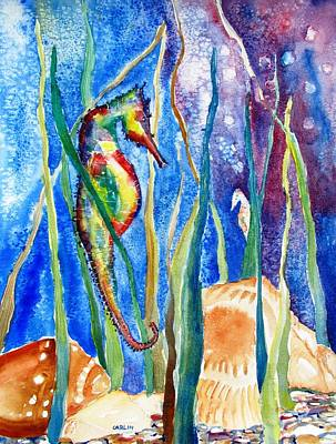 Painting - Seahorse And Shells by Carlin Blahnik CarlinArtWatercolor