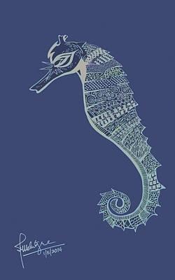Beach Drawings - Seahorse by Debbie McIntyre