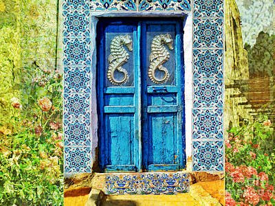 Seahorse Photograph - Seahorse Blue Door Crete Greece by Cimorene Photography