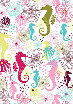 Line Drawings Photograph - Seahorse Flora by Susan Claire