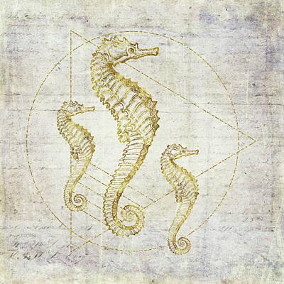 Seahorse Geometric Gold Art Print