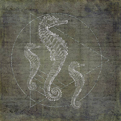 Seahorse Geometric Silver Art Print