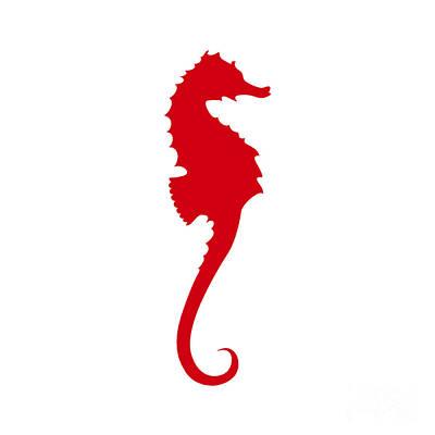 Seahorse In Red Art Print