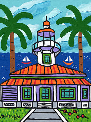 Cedar Key Wall Art - Painting - Seahorse Key Lighthouse by Mike Segal