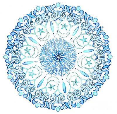 Circles Painting - Seahorse Mandala by Stephanie Troxell