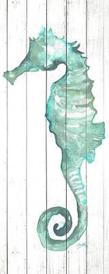 Seahorse On Wood Plank Art Print