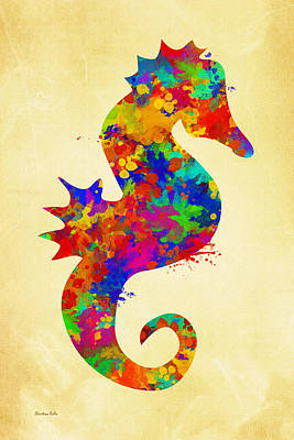 Decorative Fish Mixed Media - Seahorse Watercolor Art by Christina Rollo