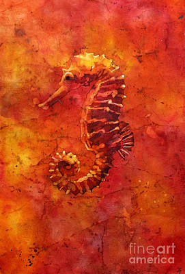 Painting - Seahorse Watercolor Batik by Ryan Fox