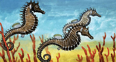Fish Drawing - Seahorses by English School