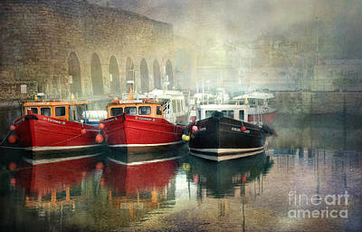 Art Print featuring the photograph Seahouses Harbour In Mist by Brian Tarr